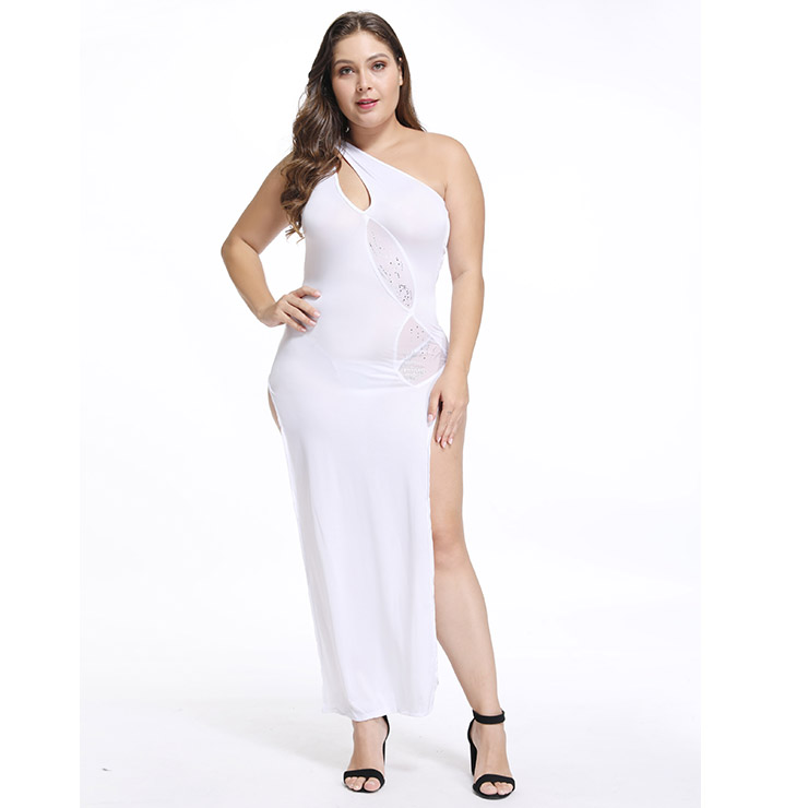 Sexy White One-shoulder Side High Split Hollow Out Clubwear Long Gown N18358