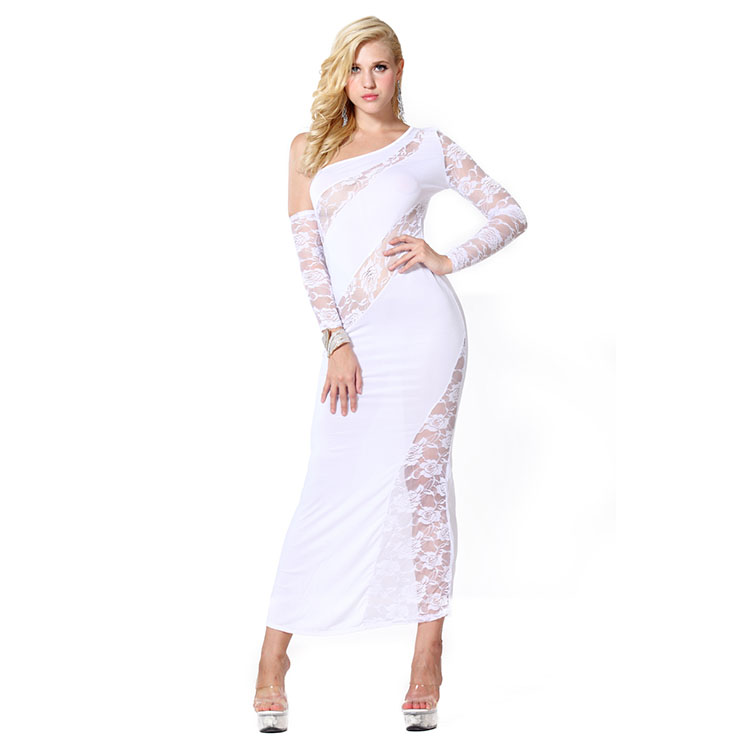 Sexy White One-shoulder Lace Close-fitting Hollow Out Clubwear Long Gown  N18600