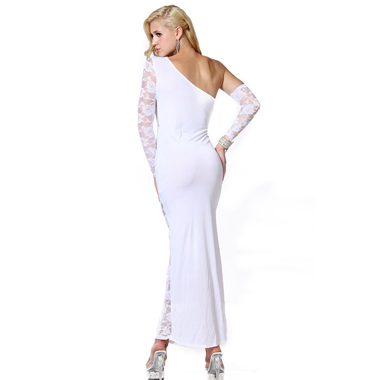 Sexy White Long Gown, Cheap White Clubwear Long Dress, Women