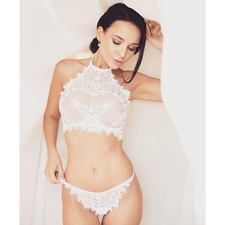 Sexy White See-through Halter Floral Lace Bra Top and Panty Lingerie Set N16417