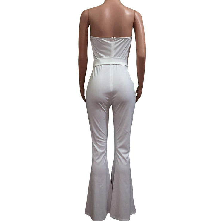 Sexy Sleeveless Strapless Jumpsuit, White Slim Fit Bellbottoms Jumpsuit, Bodycon Elastic Bellbottoms Jumpsuit, Sleeveless High Waist Bellbottoms Jumpsuit, Fashion Stripe Bellbottoms Jumpsuit for Women, #N16296