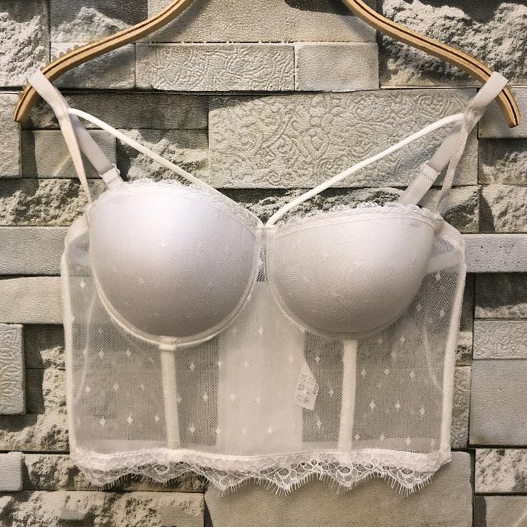 Sexy Sheer Mesh Strappy Padded Underwire B Cup Bustier Bra Clubwear Crop Top N19960