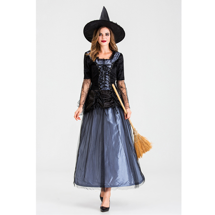 Sexy Gothic Witch Square Neck Lace-up Maxi Dress Adult Halloween Costume with Hat N19921