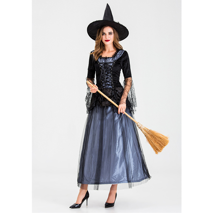Black Vintage Witch Costume, Vintage Witch Halloween Party Dress, Sexy Black Witch Costume, Fashion Black Witch Womens Costume, Witch Adult Halloween Party Costume, #N19921