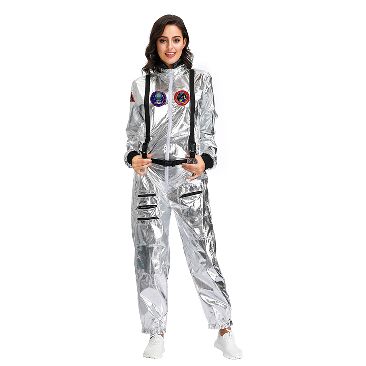 Sexy Women Silver Metallic One-piece Space Suit Adult Cosplay Costume N19619