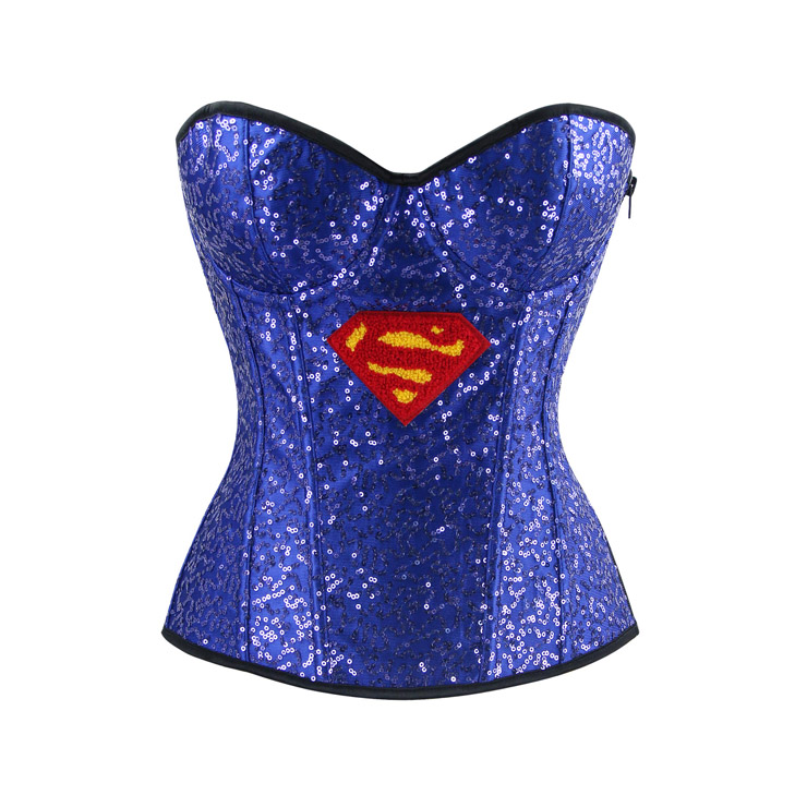 Halloween Costume Corset, Burlesque Corset for Women, Sexy Superhero Costume Cosplay, Superwoman Cospaly Corsets, Hero Corset, #N15013