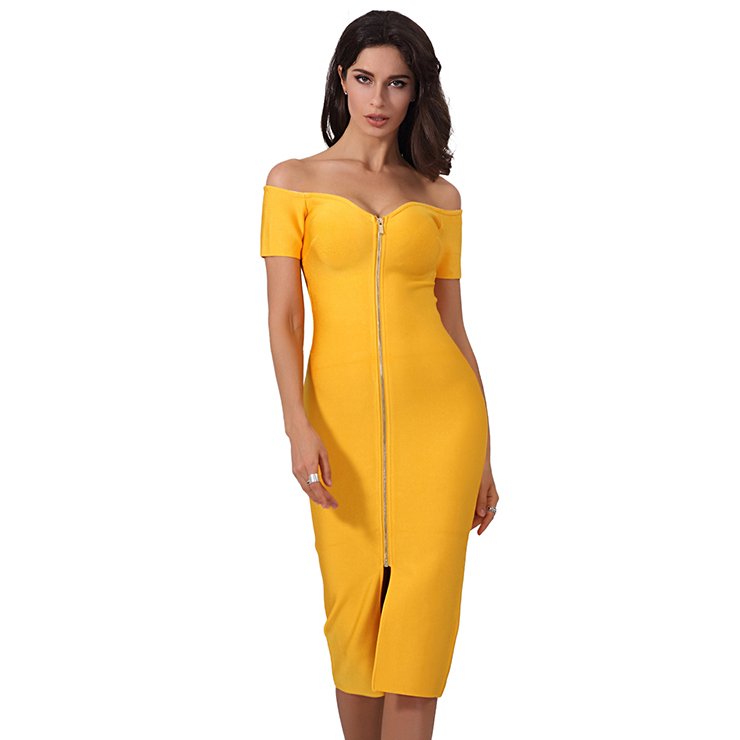 Women's Sexy Yellow Sweetheart Neck Off Shoulder Bodycon Bandage Party Dress N15245