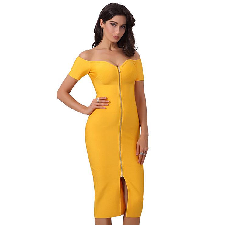 Sexy Dress for Women, Fashion Midi Dresses, Bodycon Party Dress, Sweetheart Neck Bodycon Dress, Off Shoulder Dresses, Yellow Bodycon Bandage Dress, #N15245