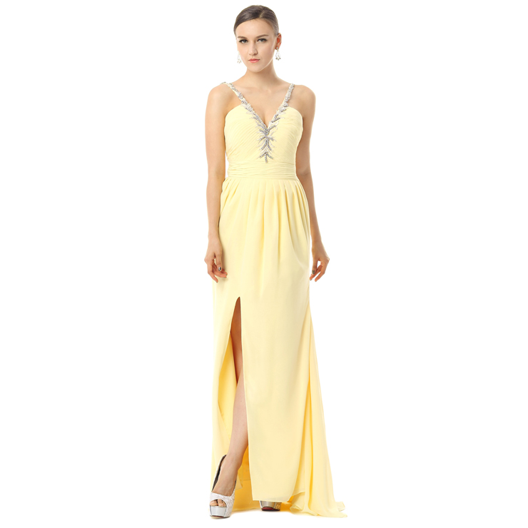 2017 Sexy Yellow V-Neck Spaghetti Straps Split-Front Crystal Chiffon Long Evening Dresses F30024