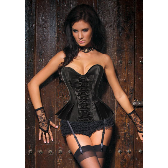 Sexy Black Pleated Skirted Burlesque Strapless Overbust Corset N4222