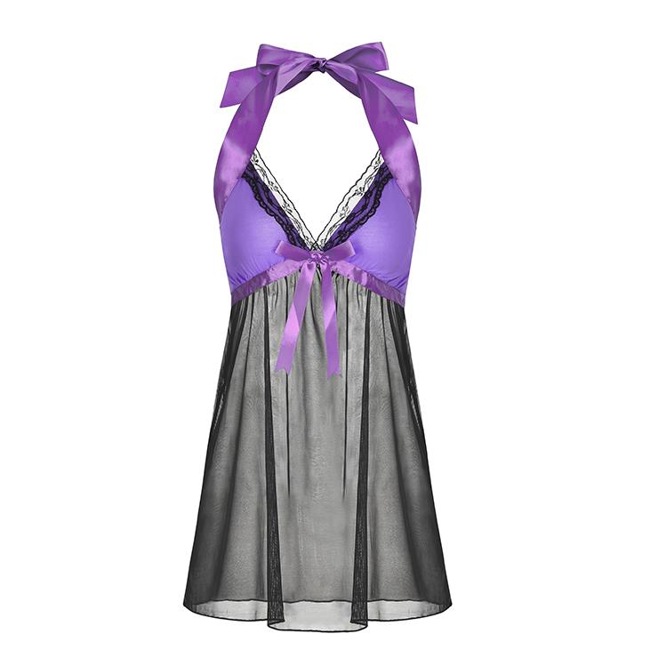 Sexy Black Sheer Mesh Pink Bodice Low-cut Halterneck Backless Babydoll Lingerie N19229