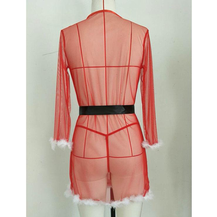 Sexy Robe, Soft Chiffon Nightgown, Silk Lightweight Sleepwear Robe, Sexy Sleepwear Bathrobe, See-through Mesh Bathrobe Nightgown, Flare Sleeve Bathrobe, See-through Christmas Chemise Set, #XT20847