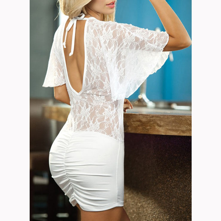Short Sleeve Deep V Neck Chemise Lingerie, White Lace Patchwork Lingerie Mini Dress, Deep V Neck See-through Lace Nightgown, See-through Lace Mini Dress Lingerie, Bodycon Mini Dress Chemise Lingerie, #N17391
