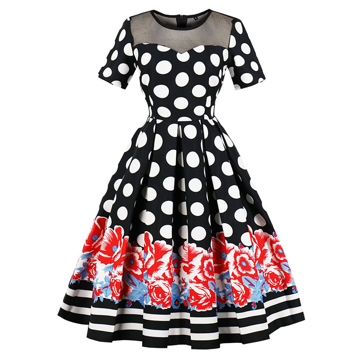 Vintage Short Sleeve Polka Dot Floral Print Pleated Midi Swing Party Dress N16391