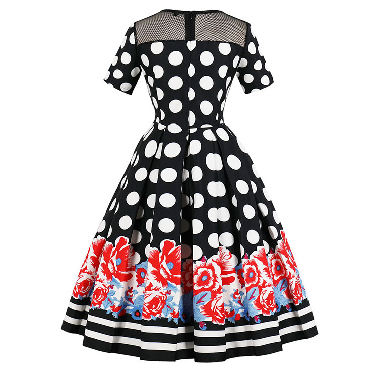 Vintage Short Sleeve Polka Dot Midi Dress, Retro Polka Dot Pleated Swing Dress, Classical Short Sleeve Printed Midi Dress, Women