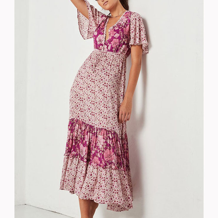 a970d610f36 Casual Short Sleeve V Neck High Waist Ruffle Floral Print Maxi A-Line Dress  N16700