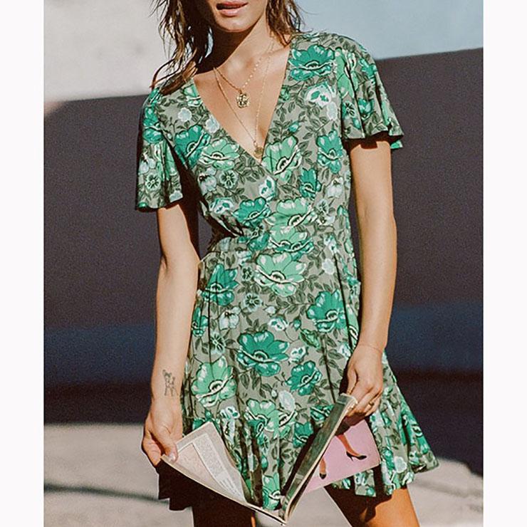 Casual Summer Short Sleeve V Neck Ruffle Floral Print A-Line Dress N16682