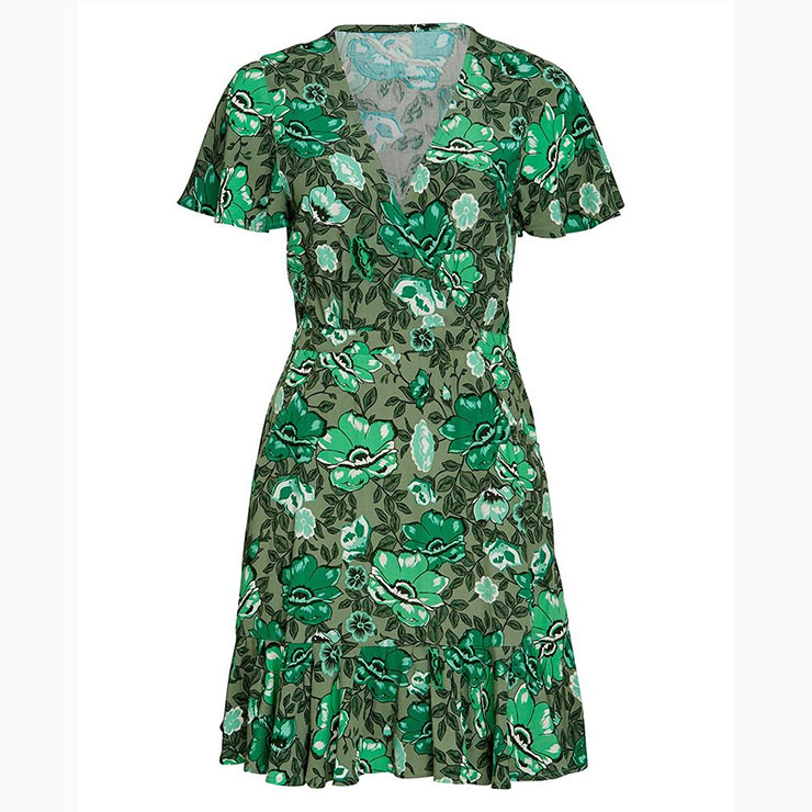 Vintage Short Sleeve V Neck Midi Dress, Casual Floral Printed Beach Dress, Casual Holiday Printed Midi Dress, Women