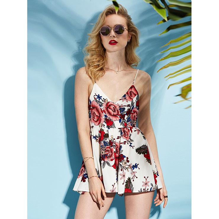 cb19c30b79c0 Women s Shoulder Straps Stripe V Neck High Waist Floral Print Rompers N14965