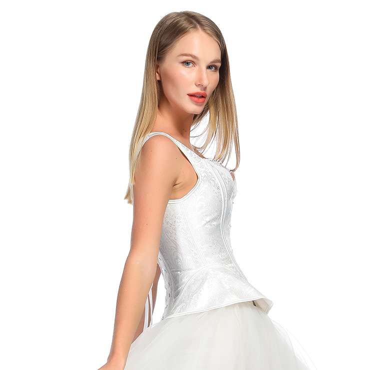 Fashion White Body Shaper Corset, Elegant White Shapewear Corset, Wide Shoulder Straps Overbust Corset, Plastic Bone Shapewear Overbust Corset, Sleeveless V Neck Outerwear Corset, Jacquard Overbust Corset for Women, #N18576