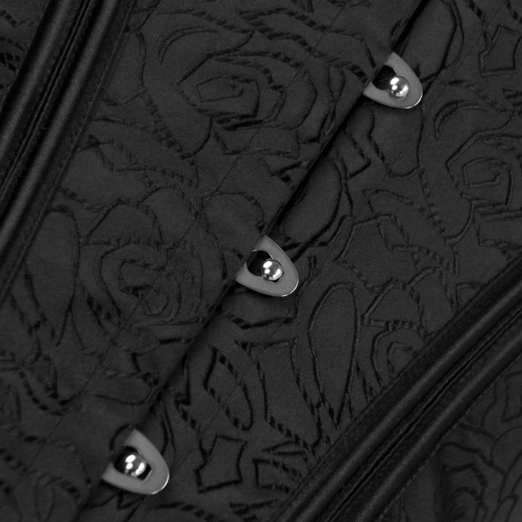Fashion Black Body Shaper Corset, Elegant Black Shapewear Corset, Wide Shoulder Straps Overbust Corset, Plastic Bone Shapewear Overbust Corset, Sleeveless V Neck Outerwear Corset, Jacquard Overbust Corset for Women, #N18640