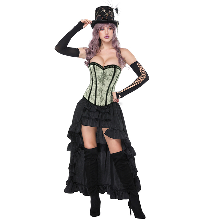 Women's Gothic Silver Floral Jacquard Strapless Overbust Corset High-low Skirt Set N16233