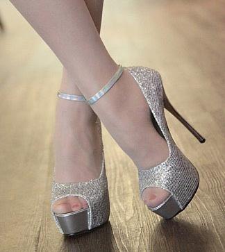 Silver Glitter High Heel Pumps