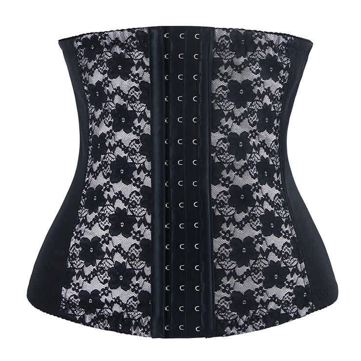 9 Steels Fashion Silver and Black Lace Waist Cincher Plus Size Bustier Corset N10520