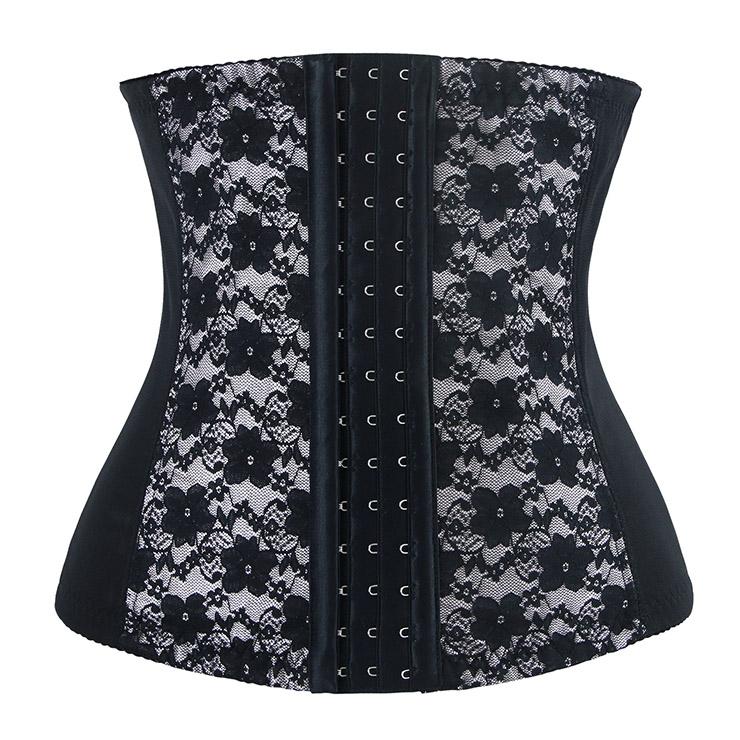9 Steels Fashion Silver and Black Lace Waist Cincher Plus Size Bustier Corset N10520