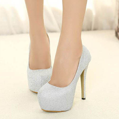 Fashion Silver Bling Bling Round Toe Wedding Party High Heel Shoes ...
