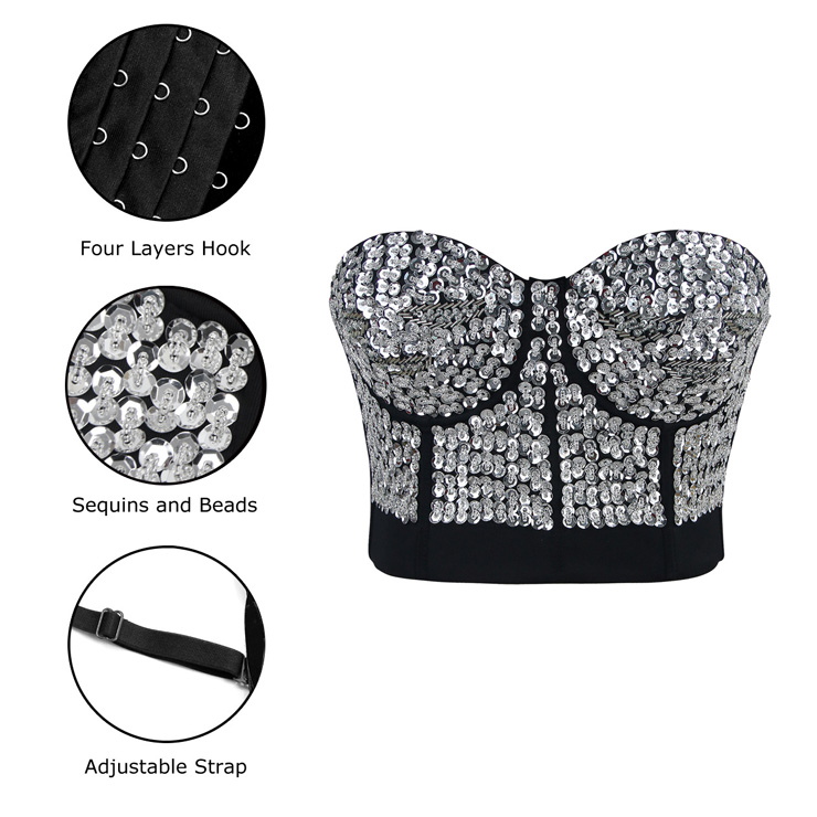Silver Sequin Bralette Corset Crop Top, Sequin Bralette Corset Crop Top, Silver Sequin Studded Sweet Heart Top, #N7192