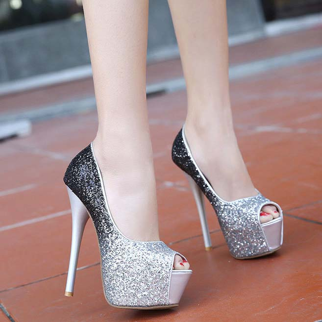 Black And Silver High Heels | Tsaa Heel
