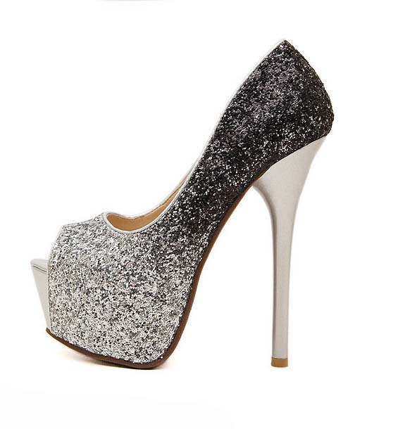 Fashion Silver and Black Gradient Shimmering Powder Peep Toe High