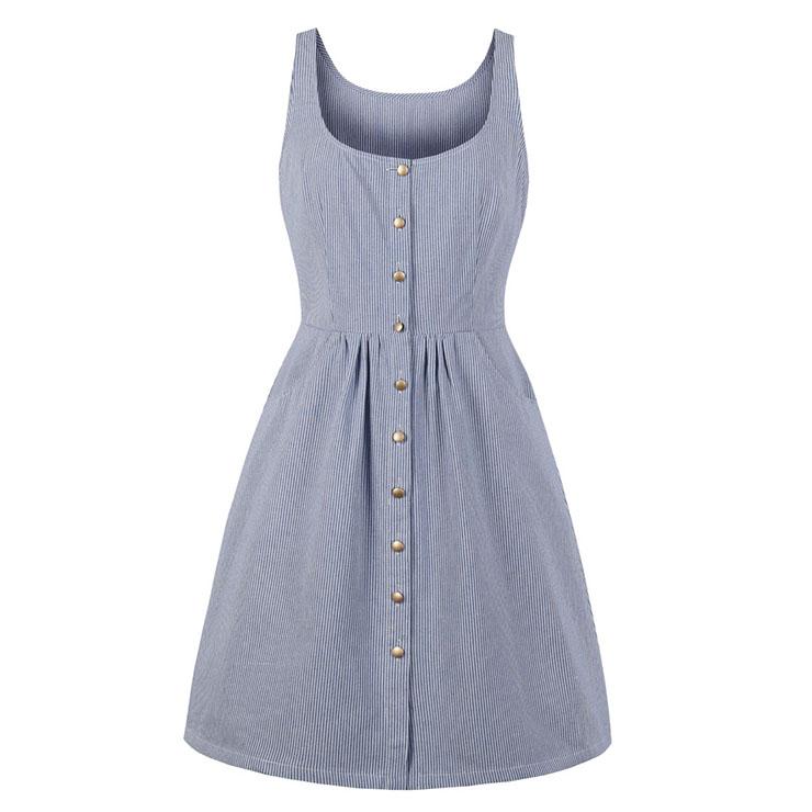 Simple Light Blue Scoop Neck Sleeveless Pinstripe Summer Swing Dress N18693
