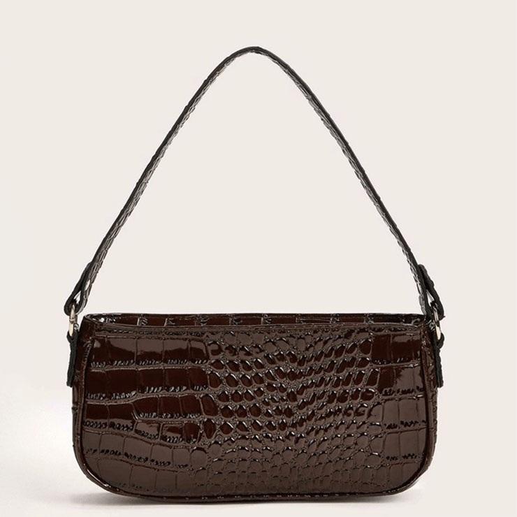 Women's Simplicity Dark-brown Crocodile Pattern Shoulder Bag Zipper Underarm HandBag N20703