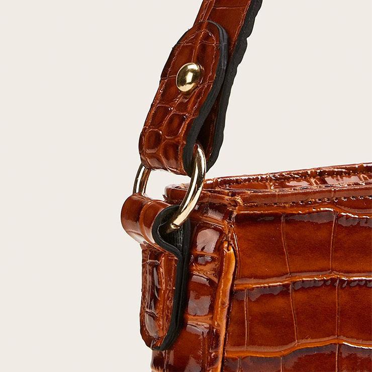 Crocodile Pattern Shoulder Bag, Simplicity Shoulder Bag, PU Leather Bags, Underarm Bag For Women,Zipper HandBag For Women, Classic Shoulder Bag,Crocodile Pattern HandBag, #N20704