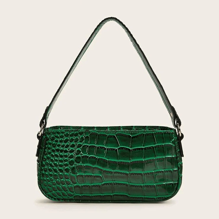 Women's Simplicity Dark-green Crocodile Pattern Shoulder Bag Zipper Underarm HandBag N20705