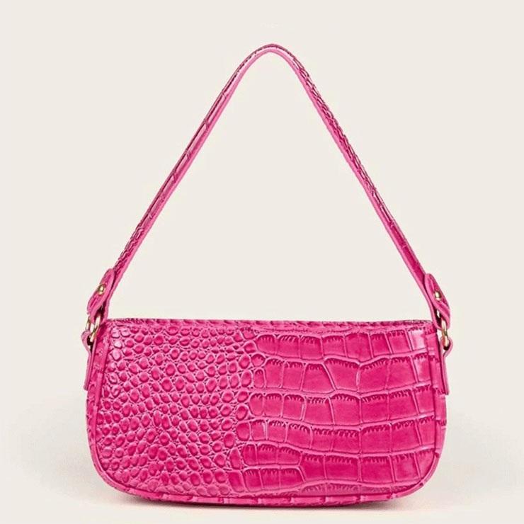 Women's Simplicity Rose-red Crocodile Pattern Shoulder Bag Zipper Underarm HandBag N20706