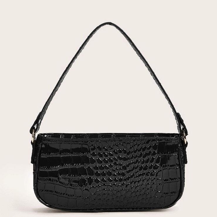 Women's Simplicity Black Classic Crocodile Pattern Shoulder Bag Zipper Underarm HandBag N20702