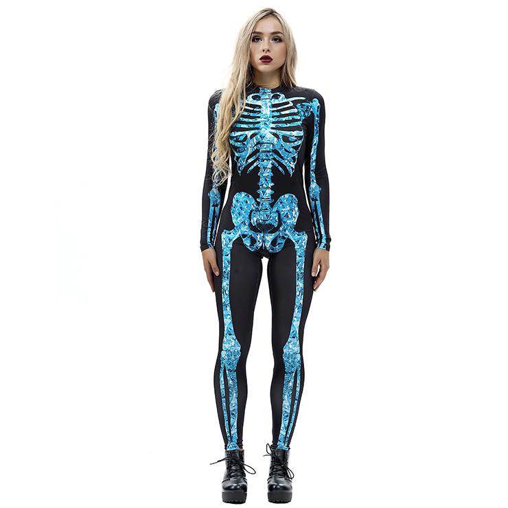 0ee3945257b Horrible Skull Printed Unitard 3D Digital Printed Skeleton Bodysuit  Halloween Costume N18233
