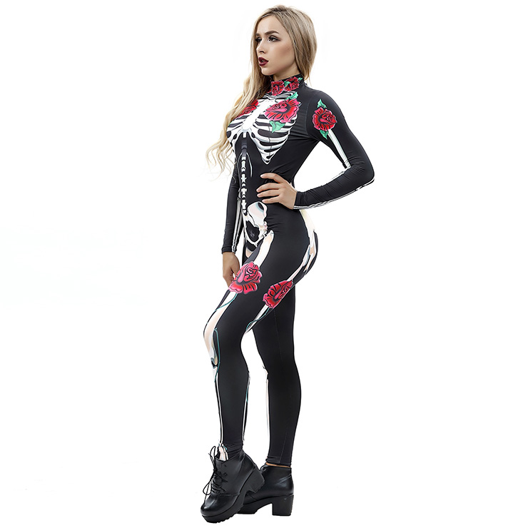 Horrible Skull Printed Jumpsuit, Halloween Skeleton High Neck Slim Fit Bodysuit, Halloween Bodycon Jumpsuit, Long Sleeve High Neck Jumpsuit, Halloween Skeleton Jumpsuit for Women, #N18234