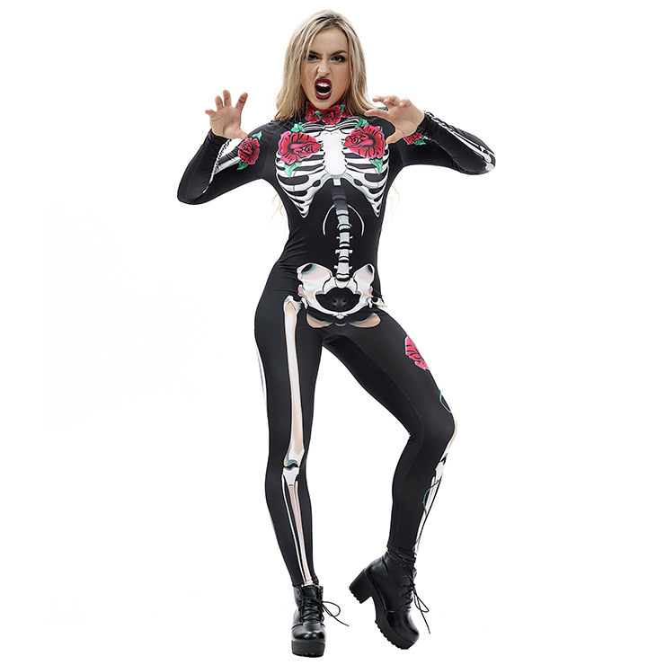 Scary Skull and Red Roses Printed Unitard 3D Digital Printed Skeleton Bodysuit Halloween Costume N18234