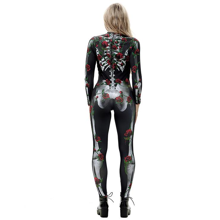 Horrible Skull Printed Jumpsuit, Halloween Skeleton High Neck Slim Fit Bodysuit, Halloween Bodycon Jumpsuit, Long Sleeve High Neck Jumpsuit, Halloween Skeleton Jumpsuit for Women, #N18237
