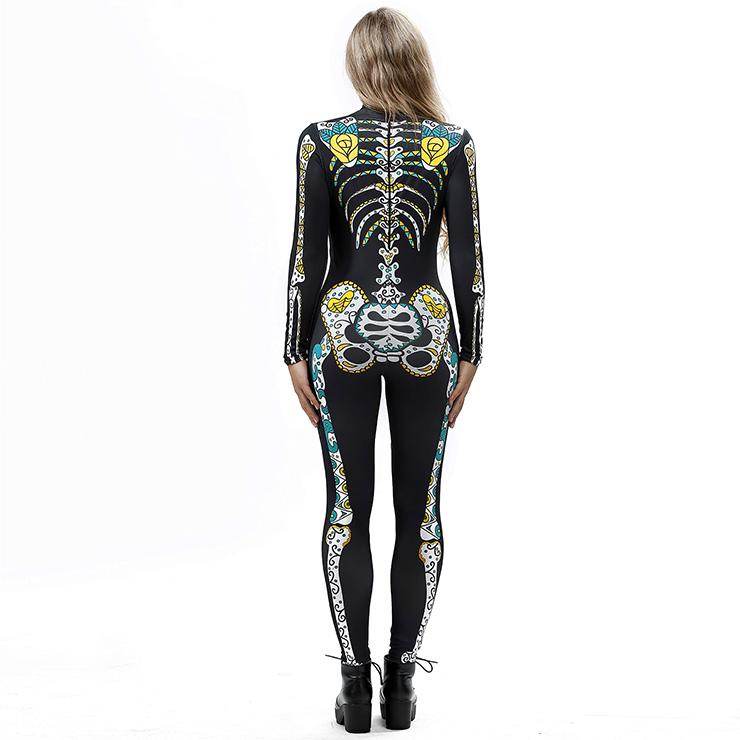 Horrible Skull Printed Jumpsuit, Halloween Skeleton High Neck Slim Fit Bodysuit, Halloween Bodycon Jumpsuit, Long Sleeve High Neck Jumpsuit, Halloween Skeleton Jumpsuit for Women, #N18239