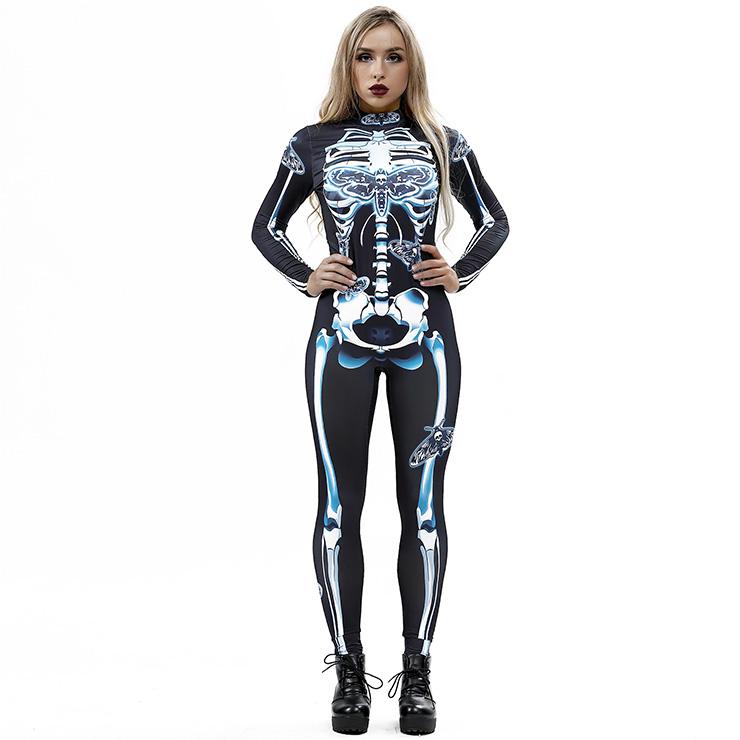 643e8dc788d Scary Skull Unitard 3D Printed Skeleton High Neck Bodysuit Halloween  Costume N18240