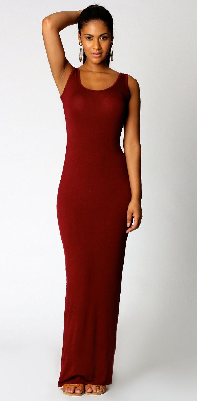 Tank top ankle length long maxi dress scoop neck sleeveless maxi - Sleeveless Ankle Length Maxi Dress N9021