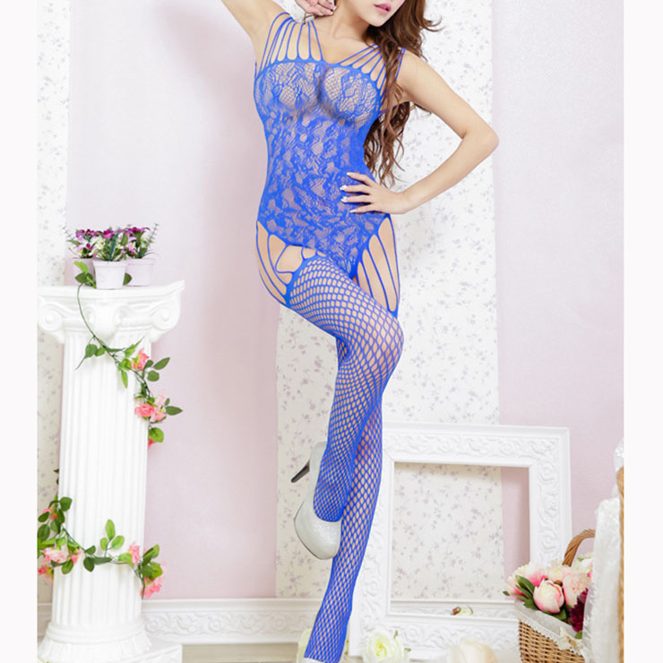 Sexy Blue Sleeveless Hollow Out See-through Bodysuit Lingerie Bodystocking BS16953