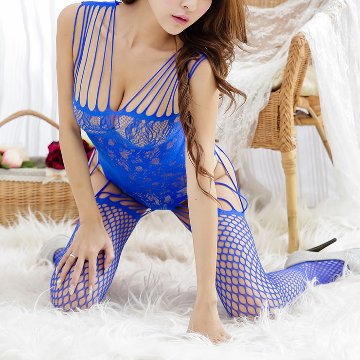 Sexy Sleeveless Strappy Bodysuit Lingerie, Blue Hollow Out See-through Bodystocking, Sleeveless See-through Bodystocking Lingerie, Flower Pattern Mesh Bodysuit Lingerie, Straps See-through Nightwear Bodystocking, #BS16953