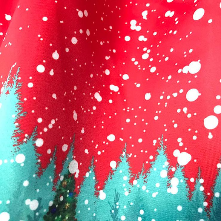 Sleeveless Christmas Dress, Christmas Swing Dress, Christmas Party Tea Cocktail Dress, Floral Print Dress, Christmas Gifts Dress, #N14992