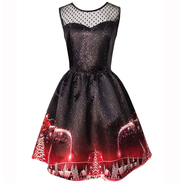 Women's Round Neck Sleeveless Printed Flared Cocktail Party Christmas Dress N14993